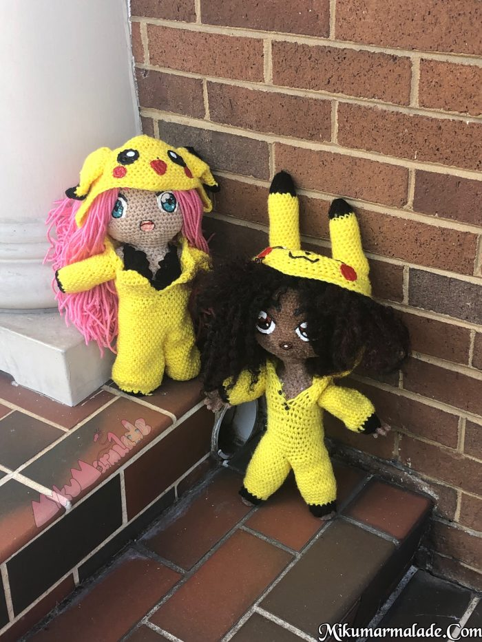 Crochet Dolls in Pikachu Onsies